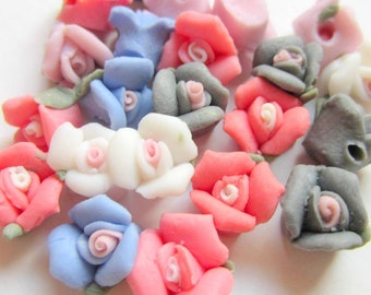 8 Porcelain rose beads mixed colors 9mm x 7mm victorian jewelry embellishments