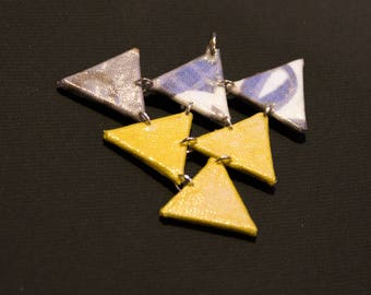 Pendant Assembly of triangles in grey and lime