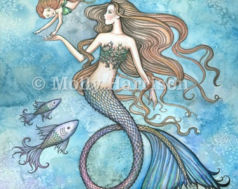 Mermaid Print - Sanctity of Motherhood by Molly Harrison Fantasy Art 12 x 16