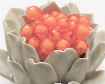 12mm Orange Bead In A Bead, Bubblegum Bead, Faceted Chunky Bead,Transparent Bubblegum Bead, Chunky Necklace Supply Bead, Jewelry Bead