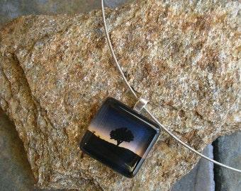 Joshua Tree Jewelry - Glass Tile Pendant Choker - photo jewelry - Joshua Tree in a Blue Sunset