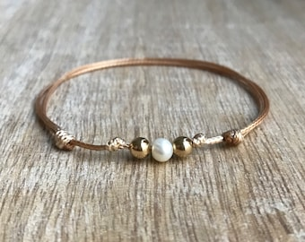 Gold Beaded Anklet, Waxed Cord Anklet, Gold Pearl Anklet, Adjustable Anklet, Waterproof WA001426