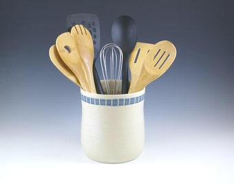 Large  Ceramic Pottery Utensil Holder, Wide Utensil Holder, Wedding Bridal Gift, Crock, Kitchen Gift,  Spoon Holder Jar,  Kitchen Storage