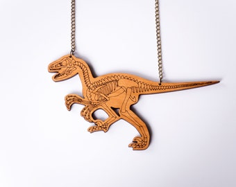 Velociraptor Necklace, Raptor Necklace, Dinosaur Skeleton Necklace, Statement Necklace, Jurassic Park, Best Friend Gift, Bib Necklace