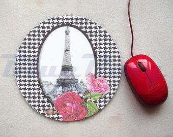 Eiffel Tower with Rose Mousepad, Office Mousepad, Computer Mouse Pad, Fabric Mousepad