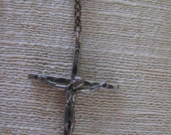 Vintage Crucifix Necklace / Made in Italy / Estate Jewelry/  Christian Jewelry /Jesus Symbol