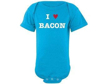 Bacon onesie, Baby I heart bacon I love bacon bodysuit, bacon bodysuit, paleo onesie, foodie oneisie, chef onesie, love bacon, funny onesie
