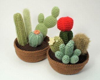 PDF Cactus Collections, eight realistic potted plant CROCHET PATTERNS