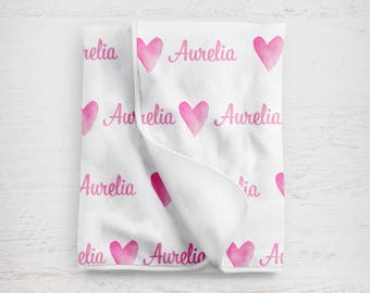 Personalized Baby Blanket - Personalized Blanket - Throw Blanket - Heart Blanket - Sweet Heart Baby Blanket -  Watercolor Pattern