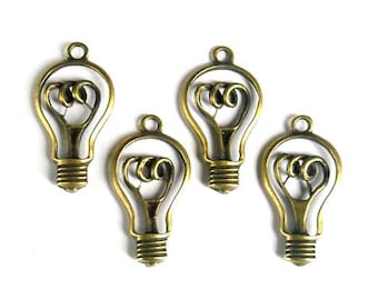 4 Antique Bronze Light Bulb Pendant/Charms - 21-49-1