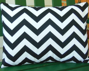 Black White Decorative Throw Pillow Lumbar Cover Black Chevron Cushion Various Sizes Pillow Case Zig Zag Couch Sofa Bed Pillow Nursery Decor
