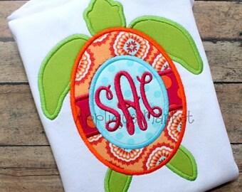 Machine Embroidery Design Applique Turtle Monogram INSTANT DOWNLOAD