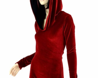 Little Red Riding Hood Red Velvet Long Sleeve Hoodie Romper w/Black Zen Soft Knit Hood Liner 151561