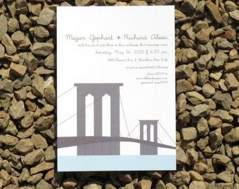 Brooklyn Bridge Wedding Invitation - Custom - Wedding Invitation - Deposit
