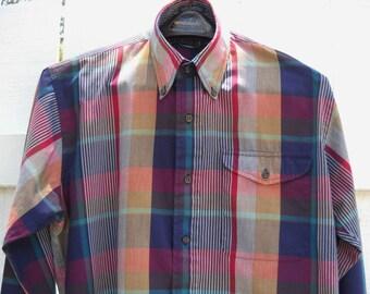 Vintage Men's Shirt Izod Plaid Shirt  Men's Preppy Button Down Collar Cotton 1980s Long Sleeve  Size L