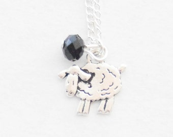 Black Sheep Necklace Counting Sheep Charm Necklace Sheep Jewelry Lamb Jewelry Lamb Birthstone Jewelry Black Sheep Necklace Sister Gift