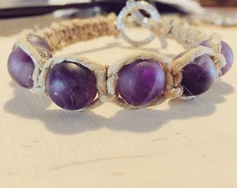 Amethyst Hemp Bracelet with Toggle Clasp