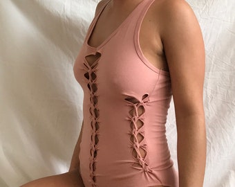 S/M light pink pixie slit weaved bodysuit