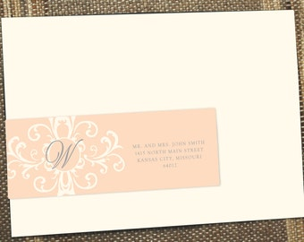 Address label, Vintage Damask Wrap Around Mailing Address Label, Wrap around label, Guest Addressing,  igital File, Printable Template