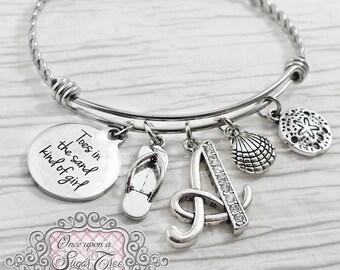Toes in the Sand BRACELET- Expandable Bangle Bracelet- Beach Theme Gift, Jewelry, Sand Dollar Bracelet- Initial Charm Bracelet- Personalized