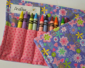 Crayon Roll-up - Lavender Delight, Roll-up case, pencil roll