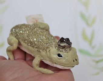Wattefigur Frosch Glitter Märchen Froschkönig Weihnachten Ornament Spun Cotton