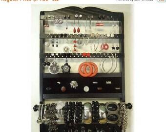 ON SALE Jewelry Holder Deluxe, Gorgeous Ebony Solid Oak Hardwood, Earring Holder, Bracelet, Necklace, Jewelry Organizer, Wall Mount, Black S
