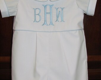 Baby Boy Take Me Home Romper Monogram Romper Easter Romper Christening Baptism Blessing Outfit Longall Shortall Jon Jon