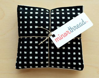 Organic Lavender Sachets in Black and White Squares & Natural Linen Fabric Set of 2 Lavender Scented Pillows Natural Home Mother's Day Gift