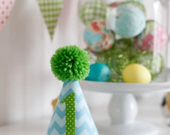 Aqua and Lime Chevron fabric party hat 1st birthday hat cake smash photo prop