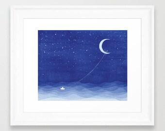 Bedroom art print moon watercolor painting moon print sailboat art moon painting blue ocean starry night nursery art wall decor illustration