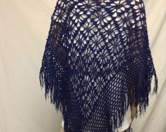 Blue Knit Shawl ,Fringed Wrap