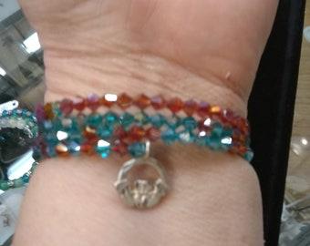 Aqua memory wire wrap bracelet