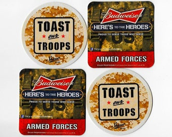 Military Drink Coasters-Army Gift-US Marines-USMC-Navy-Air Force-Veteran Gifts-Armed Forces-Army Wife-Army Girlfriend-Budweiser Beer Coaster