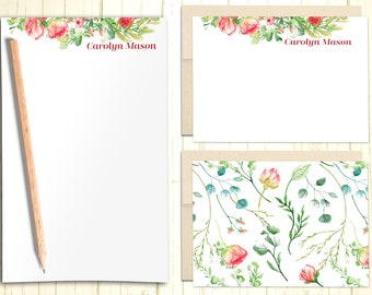 Personalized Stationary Set, Gift Set with Custom Flat and Folded Cards, Illustrated Floral Note Cards With Envelope, Flat Note Cards, PS010
