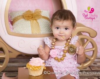 Girls Chunky Necklace, Girls Bubblegum Bead Necklace, Pink & Gold Chunky kids Necklace, Girls Necklace, Children Necklace Birthday Necklace.