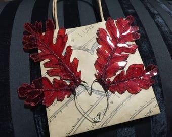 Earcuffs Beautiful Red Glittery Oak Leaf EarWing Earcuffs Elf Ears Fairy Ears