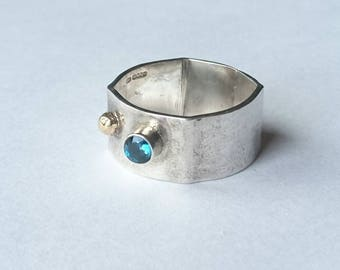 SALE  Sterling silver handmade ring with 4m london blue topaz, hallmarked in Edinburgh