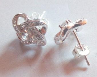 Crystal Earrings clear Diamonds transparent Rhinestone, silver plated, hoop clasp, teens girls, adult women, not allergic