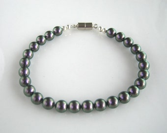 Magnetic Clasp Iridescent Purple Pearl Bracelet made with Swarovski Crystal Elements Purple Pearls