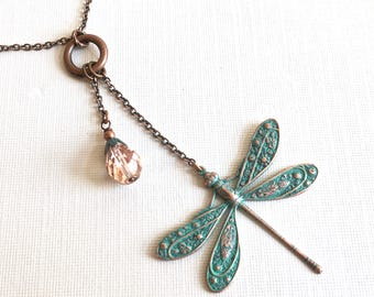 Dragonfly Necklace - Lariat Style Necklace,  Teal Copper,  Patina Necklace, Crystal Necklace