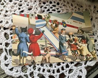 Bon Voyage Cats Postcard