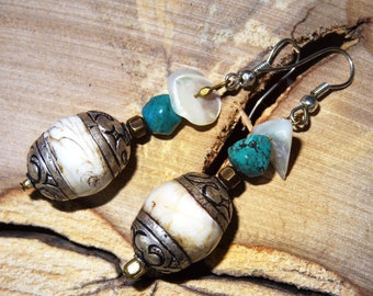 Nepalese conch shell earrings - holiday gift idea