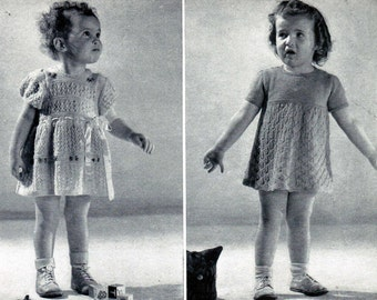 Vintage 18 month Girl Knitted Dress Patterns PDF / Monarch toddler dress patterns / PDF knitting pattern