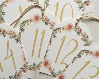 Table number cards - gold and blush table number cards