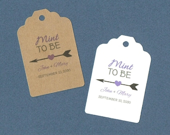 Wedding Tags, Mint To Be, Set of 50, Wedding Favors, Tags, Bridal Tags