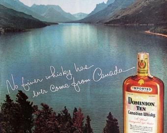 1955 Dominion Ten Canadian Whisky Ad - Waterton Lakes, Alberta, Canada - 1950s Vintage Whiskey Ad