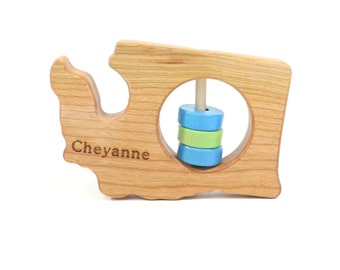 WASHINGTON State Baby Rattle™ - Modern Wooden Baby Toy - Organic and Natural
