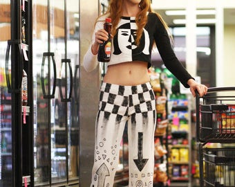 S. Hand painted black and white mod pants. 100% cotton, long length, can be hemmed to your length.