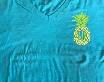 Pineapple monogram shirt, pineapple shirt, monogram shirt, custom, personalized,